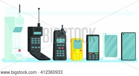 Cellphones Different Generations Set. Line Of Vintage And Modern Mobile Smart Phones With Antennas,