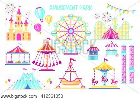 Colorful Amusement Park Flat Elements Set. Cartoon Carnival, Circus And Funfair Carousels Isolated O