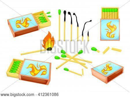 Colorful Matchsticks And Matchboxes Flat Illustration Set. Cartoon Sulphur Burnt And Burning Matches