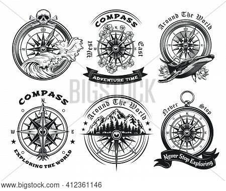 Compass Tattoo Templates Set. Monochrome Design Marine Elements With Sea Waves, Whale, Mountain Land
