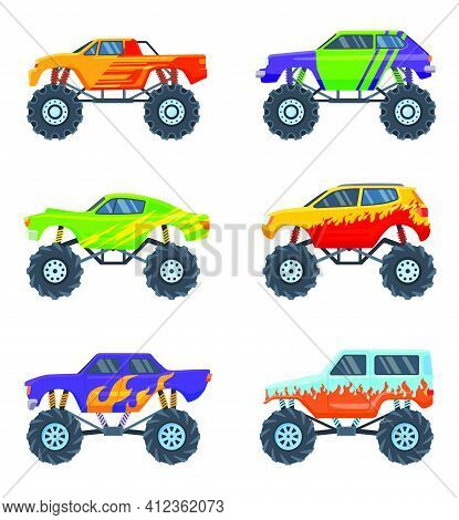 Monster Cars Set. Colorful Cartoon Trucks On Big Wheels, Toys For Children Isolated On White. Vector