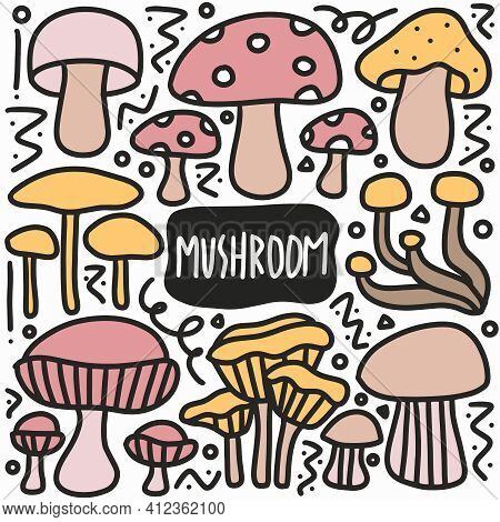Hand Drawn Doodle Various Mushrooms With Icons And Design Elements
