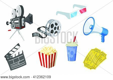 Movie Elements Set. Film Strip; Popcorn; Camera; Clapperboard; Megaphone; 3d Glasses; Tickets Isolat