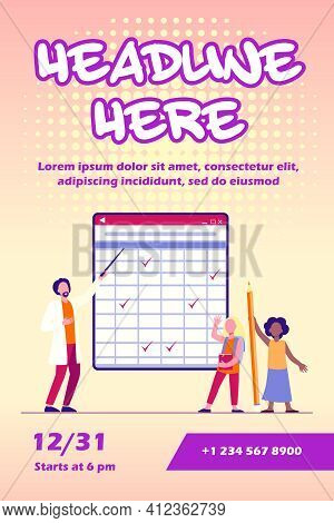 Teacher Explaining Lesson To Pupils. Schoolgirls, Man With Pointer, Matrix Blackboard Flat Vector Il