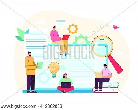 Tiny Content Writers Creating Web Articles Flat Vector Illustration. Cartoon Creative Seo Or Blog Au