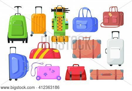 Travel Bags Set. Plastic And Metal Suitcases With Wheels For Children Or Adults, Trekking Backpacks.