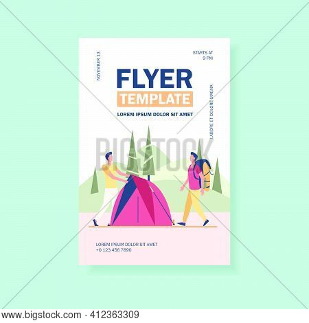 Two Tourists Pitching Tent On Meadow. Forest, Nature. Flat Vector Illustration. Camping Concept Can