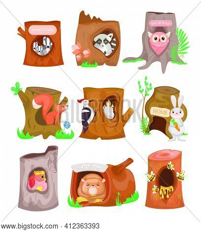 Various Cute Animals In Hollows Flat Set. Cartoon Birds, Bees, Owl, Rabbit And Squirrel In Trunk Hol