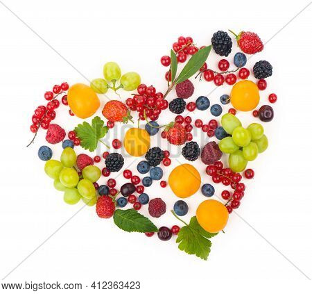 Heart Shape Assorted Berry Fruits On White Background. Black-blue And Red Food. Mixed Berries With C