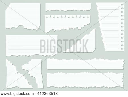 White Ripped Paper Sheets Flat Set For Web Design. Cartoon Blank Torn Notepaper Memos Isolated Vecto