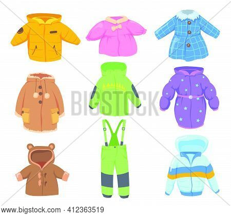 Winter Clothes For Kids Set. Colorful Warm Coats, Jackets, Pants For Children Isolated On White Back