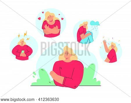 Woman In Different Moods And States Vector Illustration. Person  Suffering From Distracted Behavior,