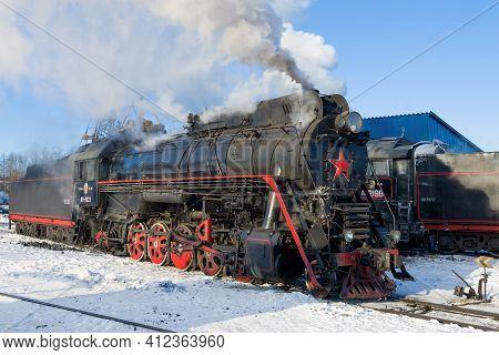 Sortavala, Russia - March 10, 2021: Soviet Mainline Steam Locomotive Lv-0522 On Sortavala Station On