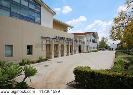 March 12, 2021 - Whittier, California: Whittier College. Whittier College Campus Center sign and building. Campus is empty due to Coronavirus Restrictions and Covid-19 Pandemic. Editorial Use Only.