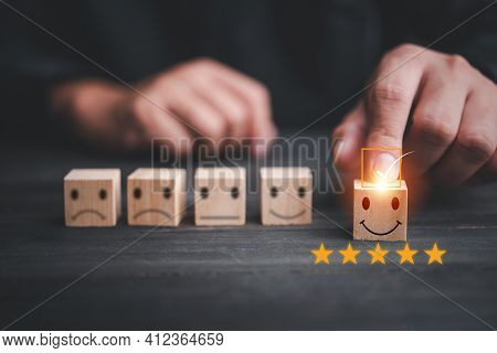 Customer Services Best Excellent Business Rating Experience. Satisfaction Survey Concept. Hand Of A