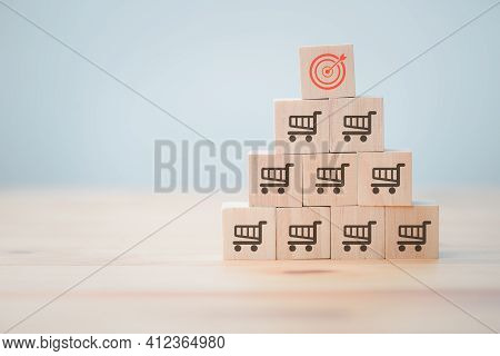 Sale Volume Increase Make, Business Success Grow Wood Cube With Icon Shopping Cart And Target Goal.