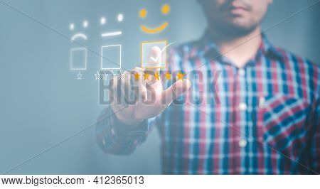 Customer Service And Satisfaction Concept, Business People Touching The Virtual Screen On The Happy