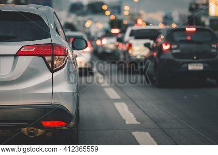 Traffic Jams In The City, Road, Rush Hour. Traffic Jam On Main Street.