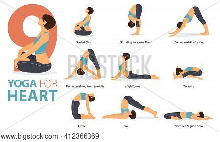 Infographic 9 Yoga Poses For Workout At Home In Concept Of Yoga For Heart In Flat Design. Women Exer
