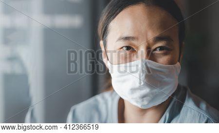 Woman Wearing Face Mask During Coronavirus Covid-19 Outbreak. Virus Spread Flu Prevention Carantine.