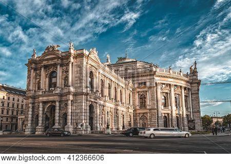 Vienna, Austria - April 27, 2019: Fancy Cars Parked Outside Burgt