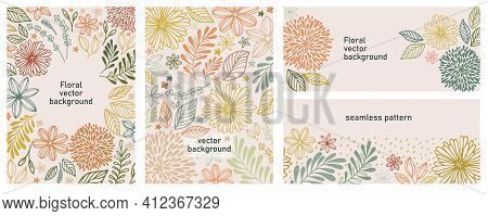 Vector Illustration And Seamless Pattern In Warm Colors. Set Of Universal Hand Drawn Floral Template