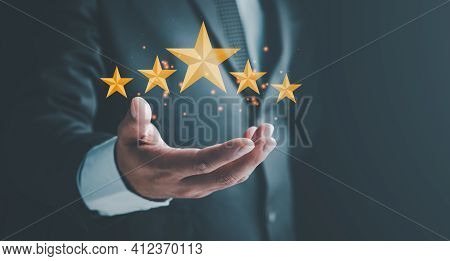 Feedback Rating And Positive Customer Review Experience, Satisfaction Survey. Customer Experiences C
