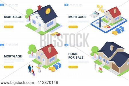 Set Of Concept Banners For Mortgage, Rent And New Home Purchase.