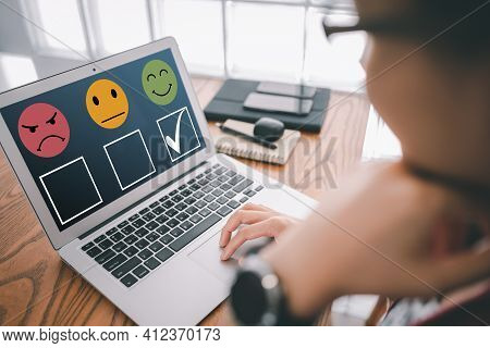 Smart Woman Use Laptop Choosing Green Happy Smile Face Icon. Feedback Rating And Positive Customer R