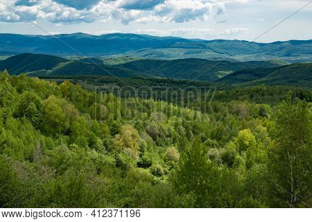 Travel Landscape. Hill Or Mountain Coutntryside. Grassy Scenic View. Wood At Nature Panorama