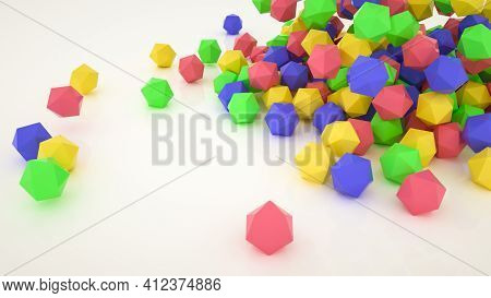 Multicolored Three-dimensional Polyhedrons Are Scattered On A White Background. 3D Render Illustrati