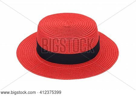 Red Straw Hat Isolated On White Background