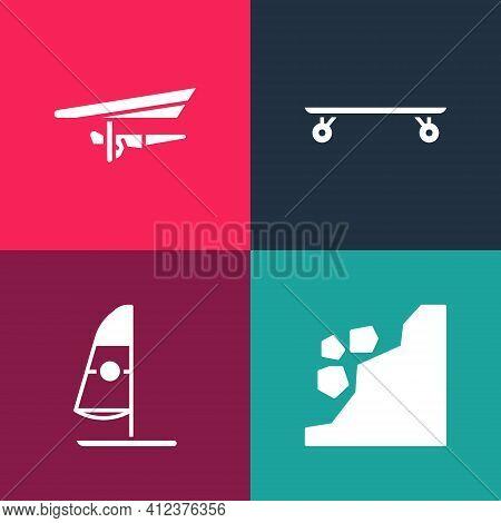 Set Pop Art Landslide, Windsurfing, Longboard Or Skateboard And Hang Glider Icon. Vector
