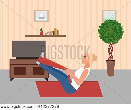 Young Woman Practices Resistance Exercises At Home With Resistance Band. Woman Does Not Miss Trainin