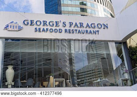 Brisbane, Queensland, Australia - March 2021: A Well Known Seafood Restaurant On At South Bank