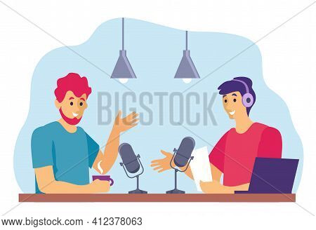 Podcast Concept Illustration. Radio Host Interviewing Guest On Radio Station. People Talking To Micr
