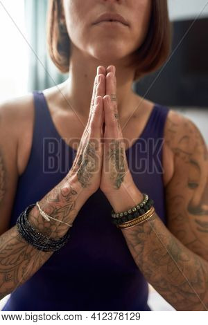 Young Girl Praying Hands Clasped Together. Short Hair Girl Clasping Her Hands Together And Pray. Gir