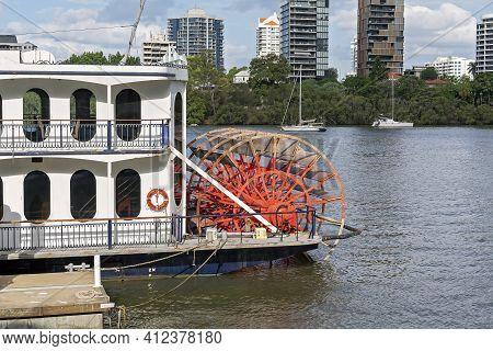 Brisbane, Queensland, Australia - March 2021: Sailing The Brisbane River Providing Showboat Cruises