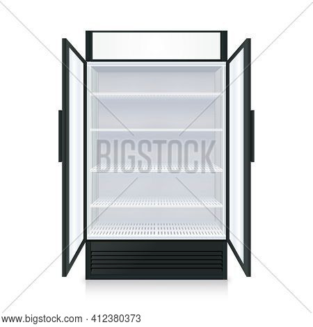 Realistic Empty Commercial Fridge With Shelves And Transparent Opened Doors Isolated Vector Illustra