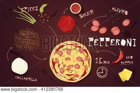Recipe Of Pizza Pepperoni With Mozzarella Salami Vegetables And Spices On Brown Background Cartoon S