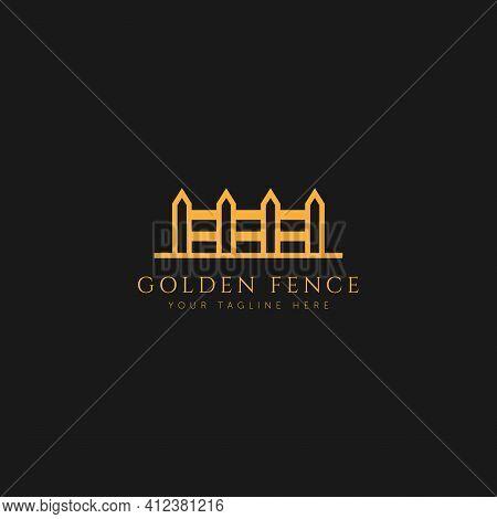 Minimalist Fence Logo Vector Illustration Design. Premium Line Art Hedge Logo Concept