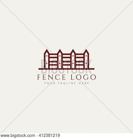 Fence Minimalist Line Art Logo Template Vector Illustration Design. Simple Modern Hedge Logo Concept