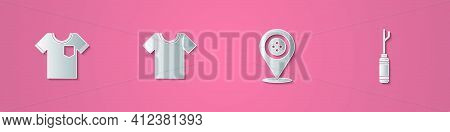Set Paper Cut T-shirt, , Location Tailor Shop And Awl Tool Icon. Paper Art Style. Vector