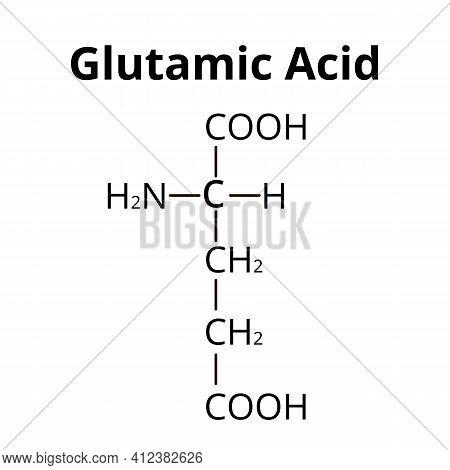Glutamic Acid Is An Amino Acid. Chemical Molecular Formula Glutamic Acid Amino Acid. Vector Illustra