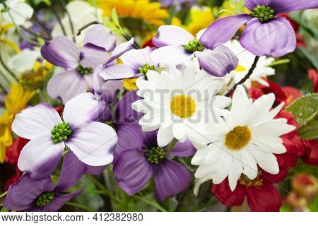 Artificial Colorful Bouquet With Leaves, Interior Design A Row Of Bouquets In A Flower Shop, Decorat