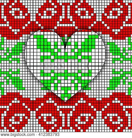Abstract Imitation Of The Vintage Blanket With Embroidery Rose And Heart Ornate. Cross Stitch Rose.