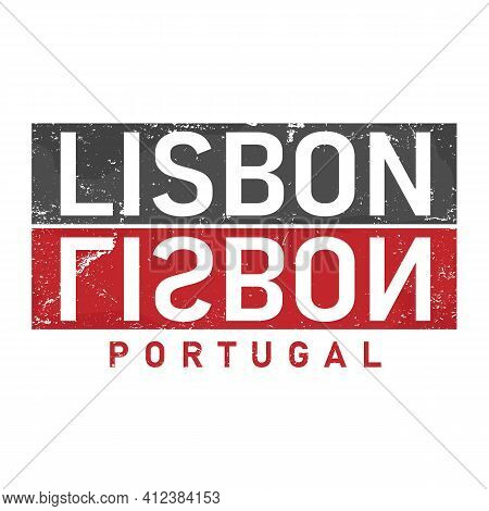 Lisbon Concept In Vintage Graphic Style For T-shirt And Other Print Production On White Background,