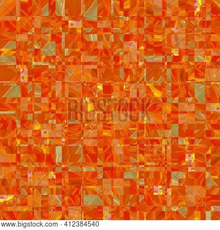 Abstract Background Texture Of Combination Of Squares Attractive Gradual In Orange Spring Color