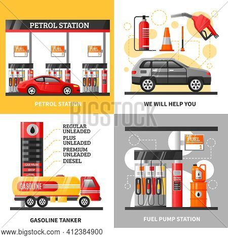 Gas And Petrol Station 2x2 Design Concept With Petrol Station Gasoline Tanker And Fuel Pump Station