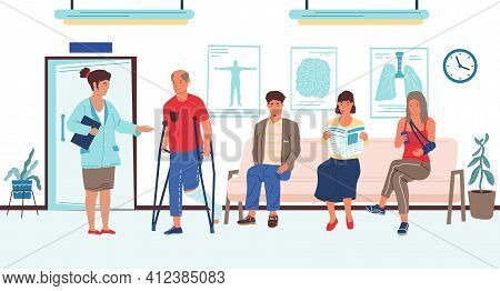 People Wait In Hospital. Appointment Queue In Clinic, Disabled Injured Patient Talking To Doctor In